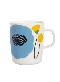 Marimekko Ahonlaita Multicolor Mug Add the freshness of budding blossoms to your morning cup of coffee with the Marimekko Ahonlaita Mug. Inspired by a summery meadow's edge, Aino-Maija Metsola's Ahonlaita pattern adorns this sturdy porc. Marimekko, Color Me Mine, Scandinavia Design, Cool Mugs, China Art, Hand Painted Ceramics, Ceramic Painting, Crate And Barrel, Decoration