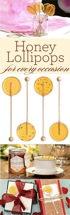 Honey lollipops are a gourmet treat for kids of every age. Sweeten tea, gift-toppers, party favors, teacher gifts and more. Fun Desserts, Delicious Desserts, Yummy Food, Candy Recipes, Wine Recipes, Warm Apple Cider, Chewy Brownies, Natural Honey, Honey And Cinnamon