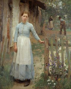 The Girl at the Gate by George Clausen (1889) Tate Gallery. This picture was painted at Cookham Dean in Berkshire, where George Clausen lived. Mary Baldwin modelled for the woman at the gate. She was from Cookham Dean village and worked as the Clausen family's nanny.