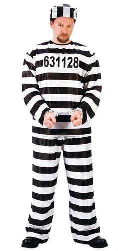 "Jail Convict Halloween Costume - This is a great jailbird robber costume. This is a nylon like black and white striped costume. The pants have an elastic waist and the pull over shirt has a v-neck collar. To finish the look is a peel and stick number to go on the shirt or hat and a matching stripped hat. Great for cops and robbers, Halloween and theme parties. <a class=""pintag"" href=""/explore/prison"" title=""#prison explore Pinterest"">#prison</a> <a class=""pintag searchlink""…"
