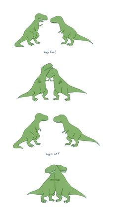 T-Rex can't high five. But that sure is a nice hug. Funny Animal Comics, Animal Memes, Funny Comics, Funny Animals, Cute Animals, Sheldon The Tiny Dinosaur, Cute Drawings, Animal Drawings, Drawing Animals