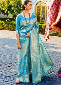 #blue #woven #kanjivaram #silk #saree #blouse #attractive #design #sareelove #new #arrivals #beautiful #indianwear #ootd #traditional #womenswear #online #shopping Kanjivaram Sarees, Silk Sarees, Essence Of India, Wedding Wear, Casual Wedding, Wedding Ceremony, Indian Wear, Sari, Saree Blouse