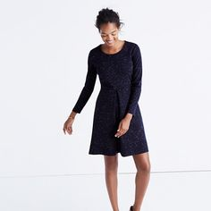 "Nail your nine-to-five (and then some) look in this long-sleeve dress with an ever-flattering A-line skirt. Just add tights and a cozy scarf.  <ul><li>Waisted.</li><li>Falls 35 1/2"" from shoulder.</li><li>Poly with a hint of stretch.</li><li>Machine wash.</li><li>Import.</li></ul>"