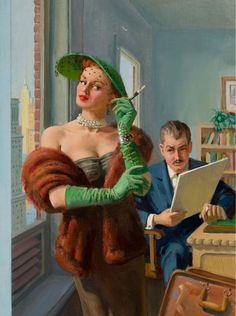 Original Pulp art - Art used on cover ' Indiscretions Of A TV Sinner' - Croydon Books # Vintage Ladies, Retro Vintage, Vintage Couples, Vintage Romance, Retro Art, Pin Up Posters, American Illustration, Smoking Ladies, Guys And Dolls