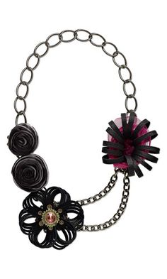 Double-Strand Necklace with Leather, Swarovski Crystal Embellishment, Organza Ribbon and Aluminum Chain
