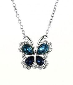 Blue Two-Tone Butterfly and Heart #Swarovski Crystal #Necklace - #Butterfly Jewelry