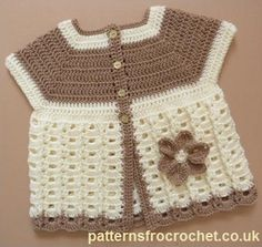 Free baby crochet pattern for Summer coat , would be easy enough to add sleeves! http://patternsforcrochet.co.uk/summer-coat-usa.html #patternsforcrochet #freebabycrochetpatterns