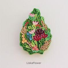 Купить Брошь Весна из полимерной глины - зеленый, ярко-зелёный, бежевый, красный, желтый, цветы