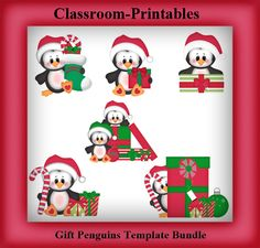 Clipart Templates for Scrapbooking.    Gift Penguins Clipart Template Bundle. For Digital Scrapbooking, Clipart, Creating Cards & Printables.    Comes PSD Format  For Use in Photoshop and Graphics Programs