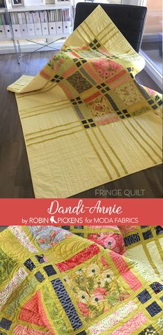 """Quilting Ideas Fringe quilt, shown here with Dandi Annie, has a regular and alternate twin layout. The alternate is more asymmetrical with longer """"fringe"""" lines. Scrappy Quilts, Easy Quilts, Panel Quilts, Quilt Blocks, Quilting Projects, Quilting Designs, Quilting Ideas, History Of Quilting, Quilt Modernen"""
