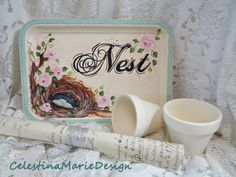 Nest and Roses Hand Painted Decorative Metal Tray Home Decor
