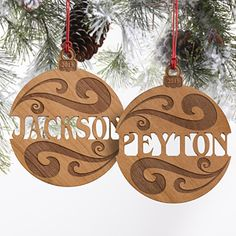 These engraved wood Christmas ornaments are beautiful! I love how you can personalize them with any name!