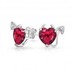 Bling Jewelry 925 Sterling Silver CZ Pink Ruby Color Devils Heart Stud Earrings