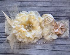Vintage style ivory silk satin lace headbandnetting by lexicouture, $16.99