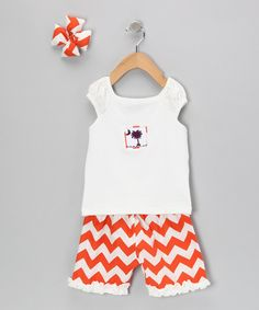Take a look at this Orange Zigzag Shorts Set - Infant, Toddler & Girls on zulily today!