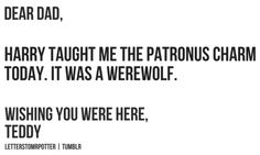 Dear Dad, Harry taught me the patronus charm today. It was a werewolf.  Wishing you were here,   Teddy