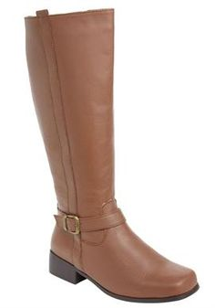 fa05a7747e6 Randi Wide-Calf Leather Boots by Comfortview® in Cognac Low Heel Boots