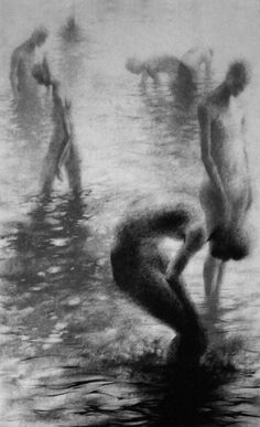 "Clara Lieu, ""Unknown IV"", lithographic crayon on Dura-Lar, 48"" x 30"", 2009. This drawing is from ""Wading"", a project that presents the most severe form of isolation as loneliness that is experienced when physically surrounded by other people.  These works depict figures wading in an infinite and undefined body of water.  I visually portray loneliness as the experience of feeling unseen and unknown within a group."