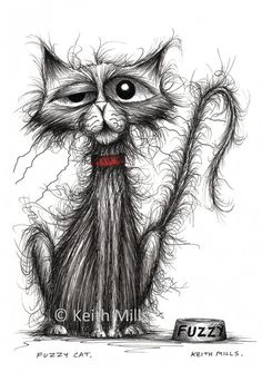 The line work for the cats fur is so awesome! ~ Scraggly cat in search of a good home - original ink drawing by Keith Mills on Folksy Regard Animal, Image Chat, Happy Paintings, Cat Paintings, Fluffy Cat, Cat Drawing, Drawing Faces, Crazy Cats, Weird Cats