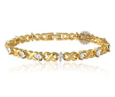 Mahi Gold Plated Brass Alloy With Crystal Single Strand Bracelet For Women - Wedding Collection Gold Bangles Design, Gold Earrings Designs, Bracelet Designs, Gold Fashion, Fashion Jewelry, Gold Bracelet For Women, Ladies Bracelet, Jewelry Show, Gold Jewelry