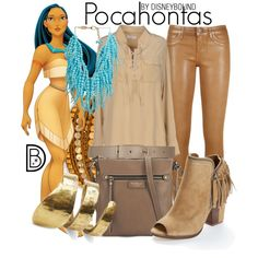 Pocahontas by leslieakay on Polyvore featuring Equipment, Dolce Vita, Fiorelli, TOMS, Rosantica, Chan Luu, Maison Boinet and Disney