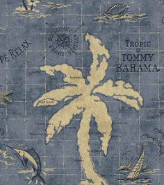 (Great for a boy's room)   Home Decor Outdoor Fabric-Tommy Bahama Island Song Ocean & home decor fabric