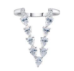 Tessa Diamond V Ring. Deco Zirconia Diamond Ring