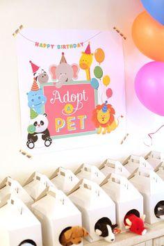 Cute kids party idea: Pet Adoption Birthday Party