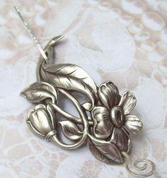 Flower Shawl Pin, Flower Scarf Pin, Daisy Hair Slide, silver shawl pin, oxidized, silver filled, fall fashion, leaf, daisy on Etsy, $19.00