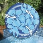 Inflatable Blue and White Hibiscus Print Circular Swimming Pool Lounger Float, Inflatable Pool Loungers, Inflatable Island, Inflatable Float, White Hibiscus, Paradise Island, Summer Fun, Summer Time, Swimming Pools, Outdoor