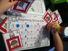 Bingo dabber activities to teach literacy skills! Beginning sounds, ending sounds, rhyming words, syllables. Great resource for the entire year! Preschool Workbooks, Preschool Literacy, Early Literacy, Literacy Activities, Kindergarten Language Arts, Kindergarten Centers, Teaching Kindergarten, Teaching Kids, Literacy Stations