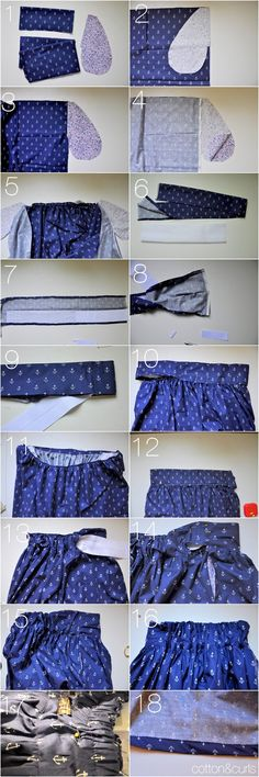 Gathered skirt with elastic and flat waistband tutorial