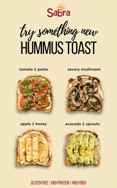 Healthy Hummus Toast There's a new breakfast toast in town that I'm totally enamored with: Hummus Toast! Try one of these Hummus Toast recipes: with four different flavors, there's something for everyone to love! Healthy Breakfast Recipes, Healthy Drinks, Healthy Snacks, Vegetarian Recipes, Cooking Recipes, Healthy Recipes, Recipes With Hummus, Healthy Microwave Meals, Salad Recipes