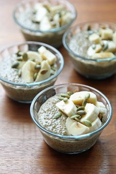 Pin for Later: Feel Fuller Longer With These Healthy Chia Seed Recipes Pumpkin Spice Chia Pudding Maple syrup, pumpkin pie spice, and banana make this sweet breakfast pudding taste more like a cozy comfort food than a fresh healthy food. Sweet Breakfast, How To Make Breakfast, Breakfast Time, Breakfast Recipes, Breakfast Ideas, Vegan Breakfast, Breakfast Bowls, Chia Pudding, Pasteles Halloween