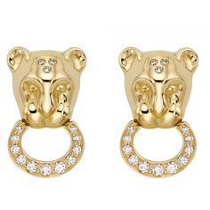 Women's Temple St. Clair Lion Cub Diamond Stud Earrings (79.478.080 VND) ❤ liked on Polyvore featuring jewelry, earrings, yellow gold, sparkling jewellery, sparkly stud earrings, temple st. clair earrings, diamond jewellery and sparkly earrings