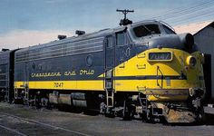 Chesapeake & Ohio F7A EMD F7A No. 7047 rests between runs in Springfield, Ill, August 1965. No. 7047 was one of the 27 A-B-A combinations ordered in September 1951. (Photo by Mac Owen)