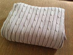 RALPH LAUREN NEW Blue Cotton Cable Knit Blanket Throw Bedding NEW no tags #RalphLauren #Throw