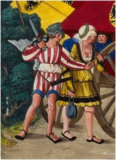 c. 1501 Hans Burckmaier - Triumph of Maximilian I, copy that is in the Biblioteca Nacional de Espana in Madrid.  Second file link PAGE 46 detail Tossfrau