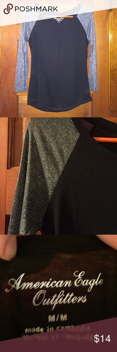 Black 3/4 sleeve top with silver sparkle sleeves Only worn once! American Eagle Outfitters Tops Tees - Long Sleeve