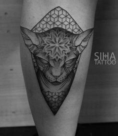Sphinx cat, mandala, geometry Dot Work by Jota at Siha Tattoo Barcelona Vine Tattoos, Dot Tattoos, Dot Work Tattoo, I Tattoo, Piercing Tattoo, Mandala Cat, Mandala Tattoo, Sphynx, Couple Tattoos