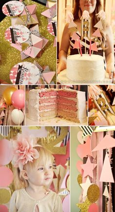 A pink, gold, black and white stripes party