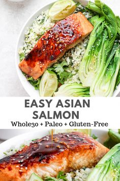 Easy Asian Salmon Recipe – this recipe is packed with flavor, comes together so easily and family-friendly! Don't forget to make extra so you have some to take to work for lunch the next day! And the asian salmon glaze/marinade will become a favorite f Paleo Recipes, Healthy Dinner Recipes, Paleo Meals, Easy Healthy Salmon Recipes, Asian Food Recipes, Paleo Dinner, Healthy Food, Asian Salmon, Cooking Salmon