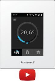 """Ovládač 6.1. - Elegantný dizajn. - Farebný dotykový LED display. - Zobrazenie parametrov na ovládacom paneli.. - Nastavenie všetkých parametrov na ovládacom paneli. - Menu v Slovenskom jazyku - Nastavenie teploty na ovládači - Regulácie podľa teploty, vzduchu alebo teploty v miestnosti - Regulácia podľa """"vyváženej"""" teploty - Plynulá regulácia výkonu ventilátorov nastavením požadovaného prietoku - Týždenný časový program - Režim dovolenka - Voľné chladenie - bypass - Zobrazenie znečistenia…"""
