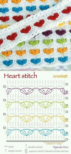 Crochet Stitch Crochet heart stitch pattern (diagram or chart)! Stitch Crochet, Crochet Motifs, Crochet Diagram, Crochet Stitches Patterns, Crochet Chart, Love Crochet, Vintage Crochet, Diy Crochet, Crochet Afghans