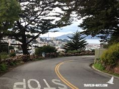 Telegraph Hill Blvd with view of Golden Gate Bridge