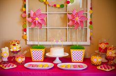 Pinwheel themed birthday birthday party. #birthday #party