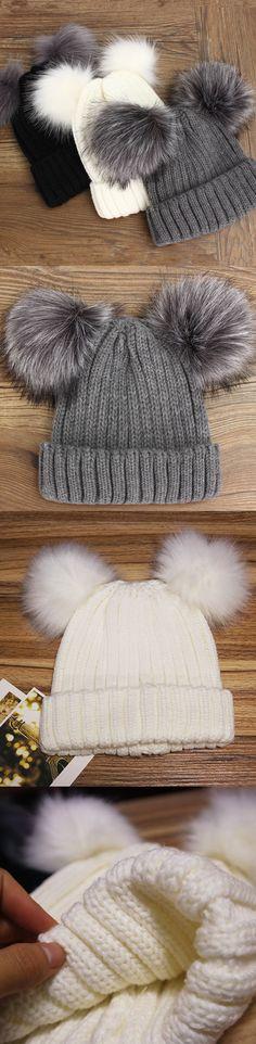 91a3aa1bb9c16 Women Outdoor Knitted Hat Double Fur Pom-poms Beanie Cap Warm Cute Beanie  Skiing Bonnet Hats