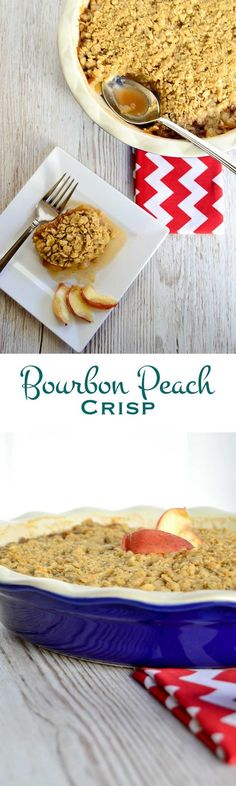 Ripe peaches, crispy oatmeal, and subtle undertones of vanilla and oak are in every bite of this bourbon peach crisp. Save room for dessert!