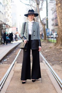 Love how the fabric makes this long jacket look short and in proportion with pants