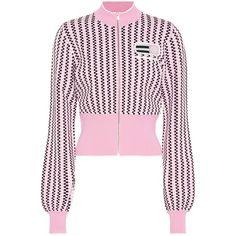 Miu Miu Cropped Jacket ($1,050) ❤ liked on Polyvore featuring outerwear, jackets, tops, pink, miu miu, miu miu jacket, pink cropped jacket, cropped jackets and pink jacket